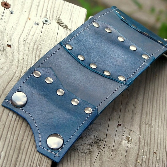 Leather Wrist Wallet Cuff with Secret Pocket - SAMPLE Sale -- The Gladiator Wristband  -- Gray Blue