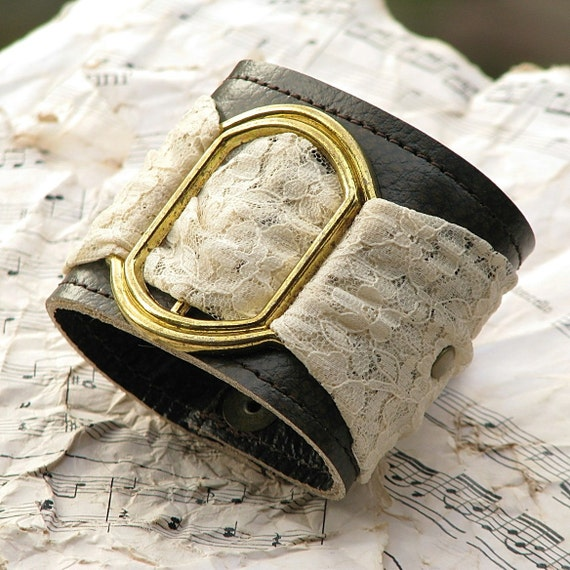 Women's Romantic Gothic Lolita Leather Wrist Wallet Cuff bracelet with Secret Pocket - Limited Edition Leather and Lace Wristband