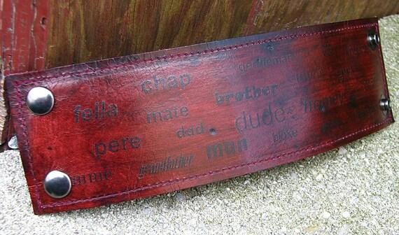 Men's Leather Wristband Cuff with Secret Pocket -- Identity -- Mahogany