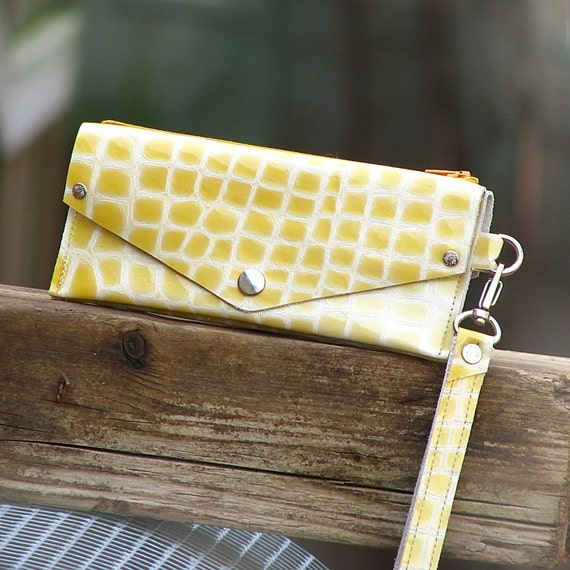 Women's Grab-N-Go Leather Wallet Wristlet with Zippered Coin Purse - Patent Yellow