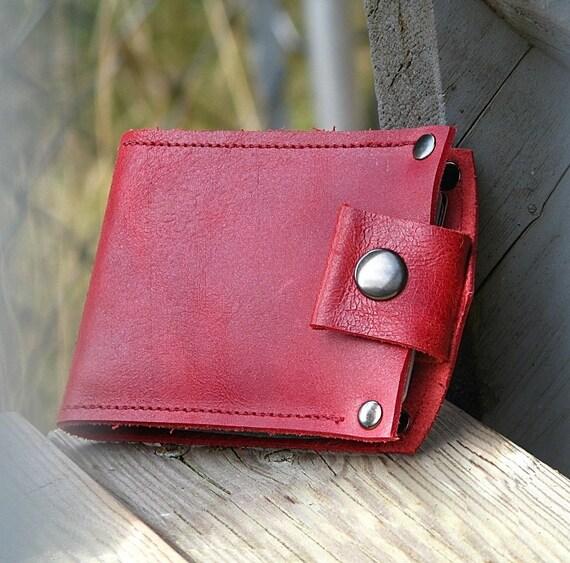 Men's Leather Snap Wallet - Slim Jim Bifold Money Clip --- Caliente Red