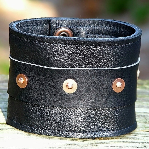 On-the-Go Leather Wrist Wallet Cuff  with Secret Pocket- --- Black with Copper