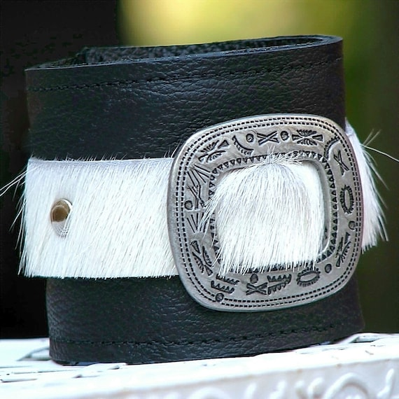 Leather Wrist Wallet Cuff - The Maverick Wristband with Secret Pocket -- Limited Edition No. 4 -- White Hair-on Cow Hide