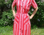 Vintage Red Shirtwaist Dress