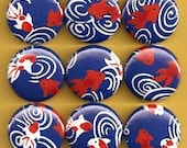One Inch Magnet Set - Koi, Goldfish - Dark Blue