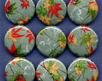 One Inch Magnet Set - Japanese Leaves