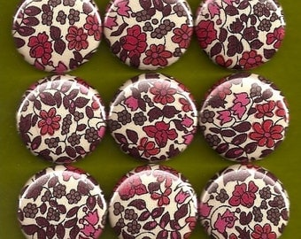 One Inch Magnet Set - Liberty of London Fabric Flowers