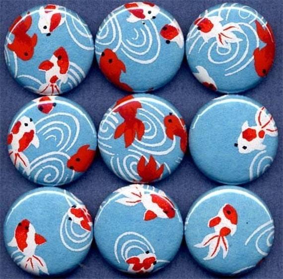 One Inch Magnet Set - Koi, Goldfish - Blue
