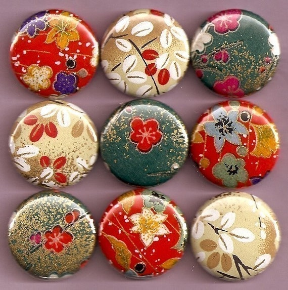 One Inch Magnet Set - Japanese Foliage and Flowers