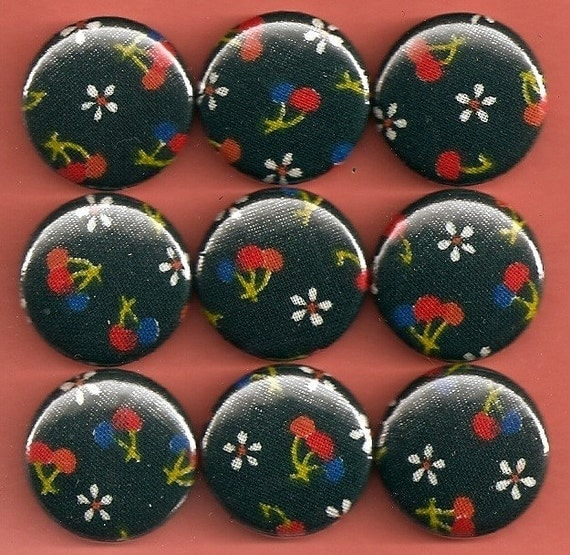 One Inch Magnet Set - Vintage Fabric with Cherries