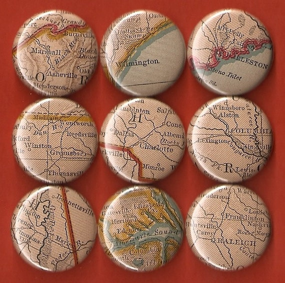 One Inch Magnet Set - Vintage North and South Carolina Map - One of a kind set