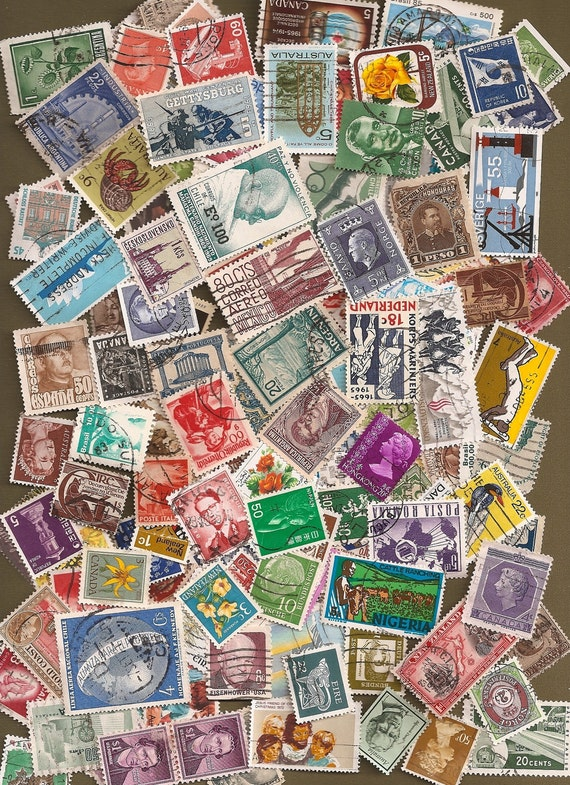 Lot of 200 Vintage and Modern Canceled Postage Stamps - All Countries