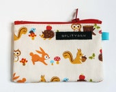 Bunnies and Squirrels and Owls and Porcupines and Mushrooms wee zip notions pouch