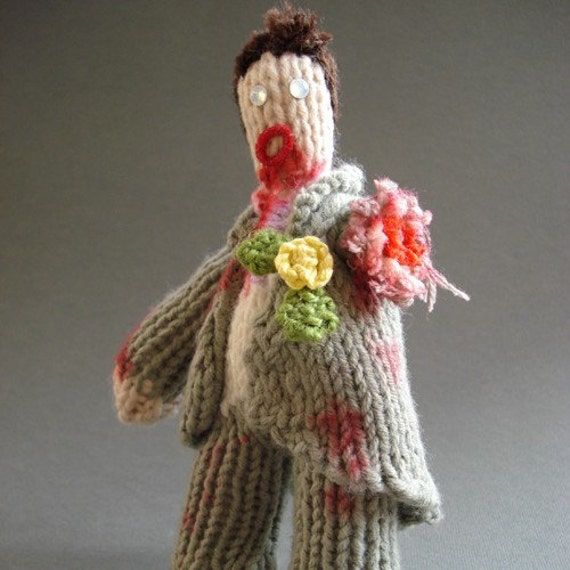 knitted ZOMBIE GROOM\/USHER figure SHAUN OF THE DEAD