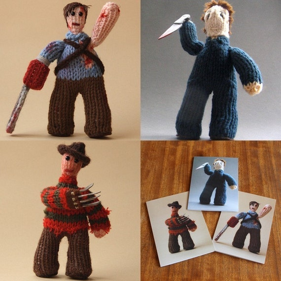 NEW knitted figure photo cards set of 3 - HORROR CLASSICS
