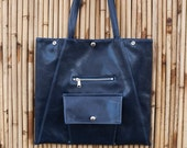 Navy Blue Briefcase Laptop Tote - Work Bag Square Trapezoid