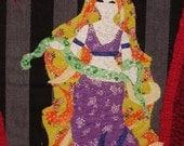 Circus sideshow banner SERPENTINA snake dancer girl art quilt