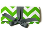 SALE green chevron clutch with gray bow. The ALEXIS Clutch.