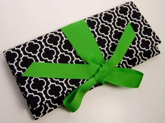 Clutch in black and white tile with apple green. SALE originally 38.00