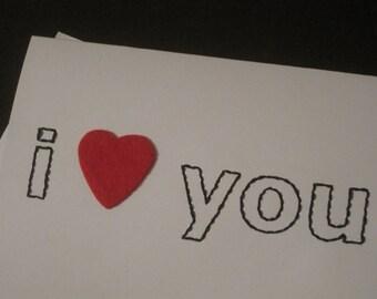 my fuzzy valentine hand-embroidered card