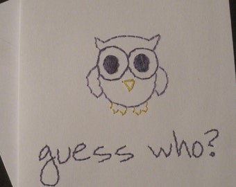 guess who hand-embroidered card