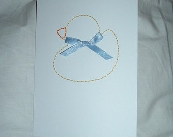 baby duck hand-embroidered card