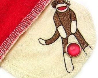 Daypad Moonpads Organic Cloth Reusable Menstrual Pad - Sock Monkey