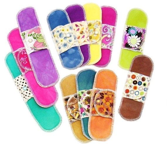 Organic Cloth Menstrual Pads - Full Moon Collection - 13 Moonpads Reusable Cloth Menstrual Pads