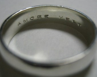 Something Inside Me Domed Custom Block Engraved Sterling Silver Ring