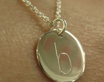 Initial Here Sterling Silver Engraved Lower Case Letter Necklace