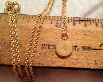 Tiny Tag 14 Karat Gold Plated Personalized Initial Pendant Necklace