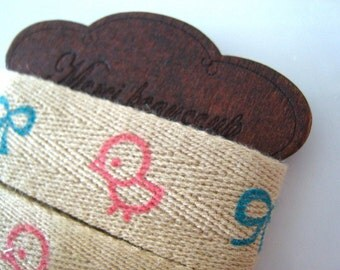 BIRDY Print Fabric Ribbon Trim & Wooden Spool