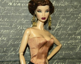 Sweetheart Silk Lace up Bustier Corset for Fashion Royalty, NuFace, Monogram, FR2, Barbie Doll