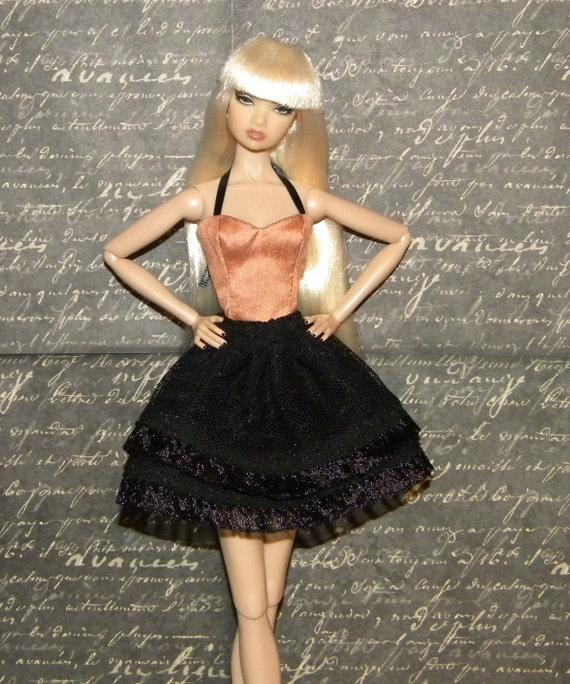 OOAK Rose Pink Bustier Black Mesh Tutu for Fashion Royalty NuFace Dolls