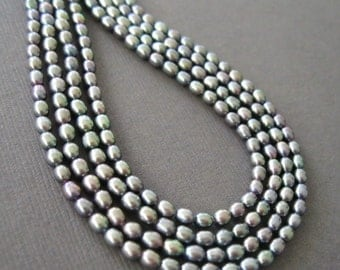 Petite Oval  Rainbow Bronze Grey Green Pearls 3x4mm