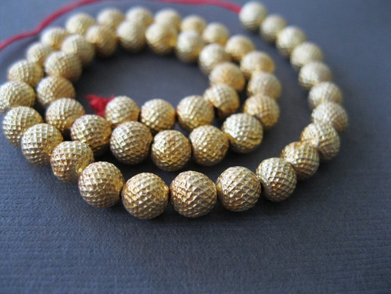 Pure 18k Gold Textured Beads