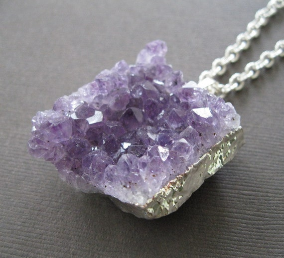 Raw Chunky Amethyst Drusy Pendent