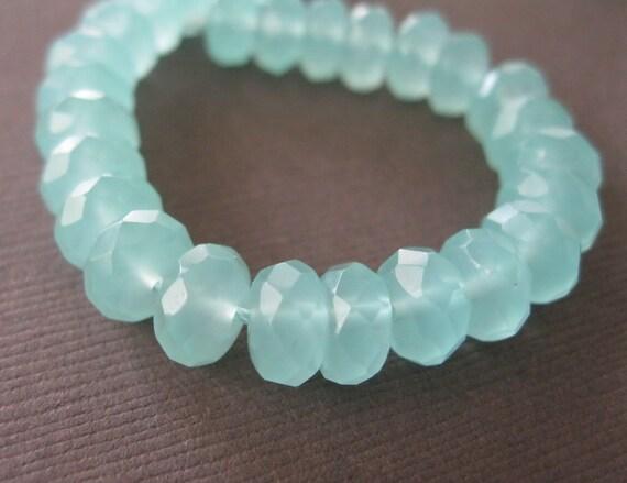 8mm Milky Seafoam Aqua Quartz Rondelle Glass Beads