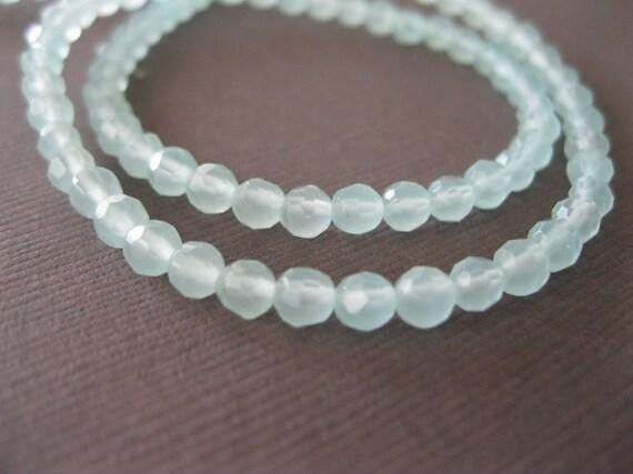 Sea Foam Aqua Quartz Faceted Round Glass Beads