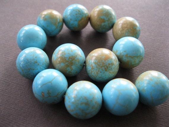 Large Light Blue Tan Matrix Turquoise Round Beads