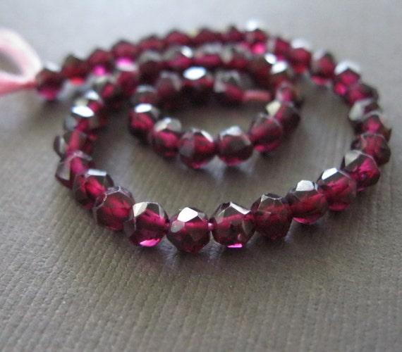 Deep Scarlet Maroon Garnet Faceted Beads