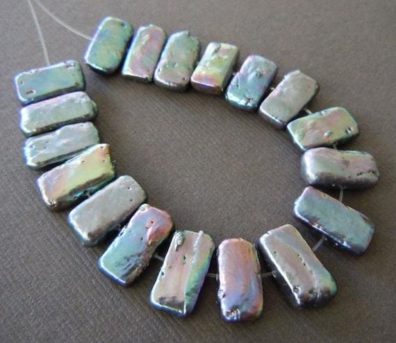 Baroque Metallic Rectangle Rainbow Freshwater Pearls