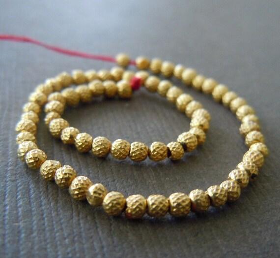 Pure 18k Gold Petite  Organic Textured Beads 2mm