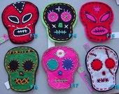 One Day of the Dead Plush Skull Magnet