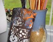 Reserved for Rita: Batik Skulls Boxy Notions Pouch - Brown, Orange, Blue & White