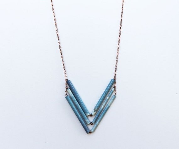 Blue Clouds Chevron Necklace