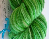 Evergreen is 223 yds hand dyed worsted weight yarn