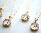 gold monogram necklace set for bridesmaids--with 10% bridal discount.
