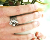 custom date ring stack in recycled silver