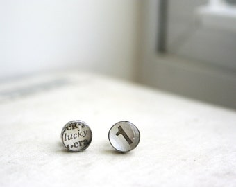 stud earrings - recycled sterling silver lucky 1